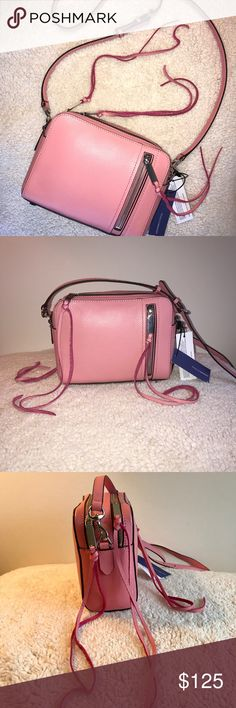 """Gorgeous Rebecca Minkoff Pink crossbody Brand new India crossbody in beautiful pink """"Guava"""" color. Front zip pocket, back logo plaque. Two spacious compartments and silver hardware. Adjustable shoulder strap. Extra tassel included. Tags still on. Not looking to trade.  Dimensions: approx 7""""W x 8.75""""H x 4""""D Shoulder strap: approx 23"""" drop Rebecca Minkoff Bags Crossbody Bags"""