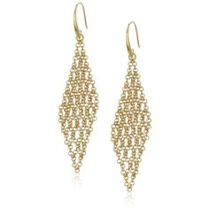"Diane von Furstenberg ""Atlantis"" Woven Chain Chandelier Drop Earrings ($78) ❤ liked on Polyvore featuring jewelry, earrings, gold plated chandelier earrings, chains jewelry, woven jewelry, chain earrings and diamond shaped earrings"