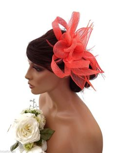 Women's Sinamay Fascinators and Headpieces Wedding Fascinators, Headpieces, Bow Design, Coral Orange, Hair Comb, Hair Beauty, Hair Accessories, Bows, Bridal