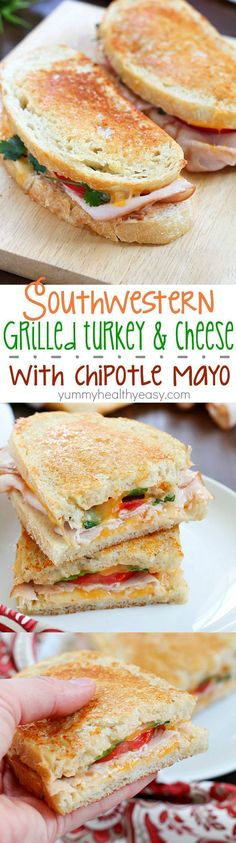 Incredibly delicious Grilled Turkey and Cheese sandwiches with a southwestern flair and homemade chipotle mayo. This is a turkey sandwich unlike any other you've tasted. (Soup And Sandwich Recipes) Healthy Sandwiches, Turkey Sandwiches, Wrap Sandwiches, Panini Sandwiches, Vegetarian Sandwiches, Vegetarian Food, Healthy Sandwich Recipes, Grill Cheese Sandwich Recipes, Homemade Sandwich
