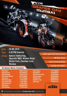 KTM RC 200 and 200 Duke owners from across the city to compete in an exciting biking face-off Ktm Rc 200, Ktm Duke, Street Racing, In Mumbai, Racing Motorcycles, Super Sport, Stunts, September, Orange