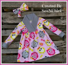 Size 6 Owl Top or Dress Fleece Fabric Pullover