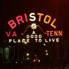 Bristol Tennessee / Virginia sign lit up for the Tennessee Volunteers vs Virginia Tech football game September 10th,  2016.