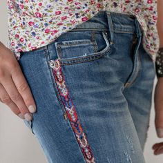 Tapestry Tux Stripe Jeans by Sundance I want to hand embroider a pattern like this on cutoffs