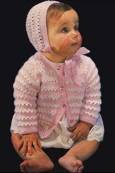 Vintage PDF Baby Knitting Pattern - Emu 8311 - cardigan bonnet Instant Download on Etsy, £1.25