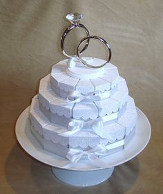 Paper wedding cake - Favor Boxes 36 individual slices.   Great for a wedding shower