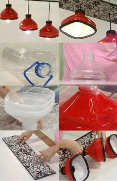Otra forma muy ingeniosa de crear un conjunto de lámparas reciclando botellas de plástico PET. Puedes adaptar el color y los complementos a tu gusto para darle tu toque personal. Vía detalleenfemenino…