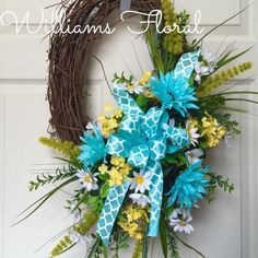 Petite Turquoise and Yellow Spring and Summer Oval Grapevine Wreath by WilliamsFloral on Etsy https://www.etsy.com/listing/227438740/petite-turquoise-and-yellow-spring-and