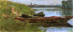 Two Boats by Theodore Robinson - Canvas Art Print Theodore Robinson, American Impressionism, Impressionist Landscape, Boat Painting, Brown Art, Oil Painting Reproductions, Sculpture, Claude Monet, American Artists
