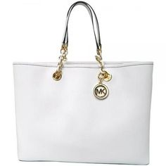 Michael Kors MICHAEL Michael Kors Cynthia North South Large Tote in Optic White