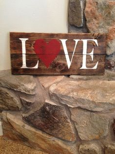 Love wood sign by Maddivadesigns on Etsy, $25.00