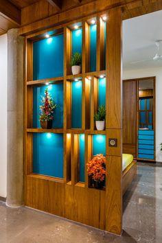 Pooja Room Design, Foyer Design, Home Room Design, Home Interior Design, Living Room Designs, Room Partition Wall, Living Room Partition Design, Room Partition Designs, Wooden Partition Design