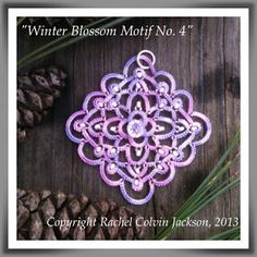 """Winter Blossom Motif No. 4"" original needle tatted design by Rachel Colvin Jackson using Sulky Blendables 12 wt. (color 4025) with silver lined lilac rocailles, cream pearl Ornella seed beads & a Swarovski rondell for accents."