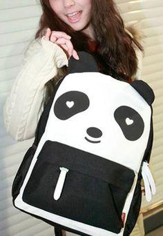 [grls72000010]Cute Mixing Color Panda Canvas Backpack