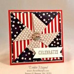 hand crafted quilt card ... red, white, blue and kraft ... patched penwheel pattern ... great card!