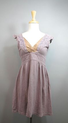 PRAIRIE UNDERGROUND Mauve & Tan Organic Cotton & Hemp Lace Cap Sleeve Dress S #shopmodo #modoboutique www.modoboutique.com