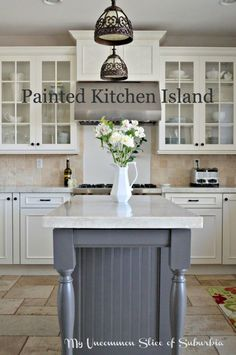 Painted Kitchen Island in Benjamin Moore Iron Mountain.  The perfect warm grey that goes well with neutrals.