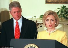 Bill Clinton, pictured with his wife Hillary shortly after the Lewinsky scandal broke in 1...