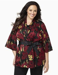 Flowing cascade jacket has colorful patches with burnout designs for a distinguished look. The open-front style comes with a removable tied belt to define your waist. Asymmetrical hem drapes longer on each side. Catherines jackets are styled exclusively for the plus size woman. catherines.com