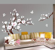 white flower wall decal s cherry blossom Vinyl wall decals tree office wedding wall murals Nursery wall sticker - Huge Magnolia Z180 cuma