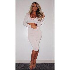 7ddbd90f89d0 Fashion Woman 2pcs Deep V-Neck Long Sleeves Bandage Dress White