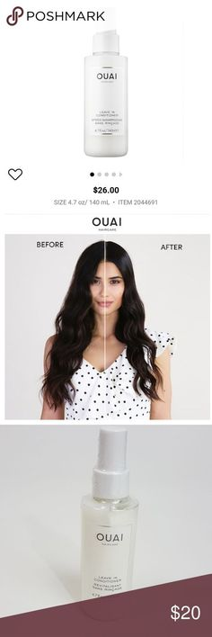 NEW Ouai Leave In Conditioner Full Size A multitasking leave in hair mist . NEW Ouai Leave I Silky Hair, Smooth Hair, Ouai Hair, Fly Away Hair, Hair Mist, Hair Type, Mists, Hair Flyaways, Vacation
