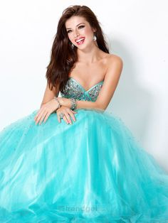 2014 Tiffany Ball Gown Sweetheart Floor-length Organza Blue Prom Dress