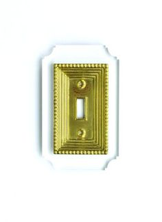 Reprotique Switch Plate, Georgian Style,  Clear Acrylic + Brass Finish, Single and double plates available