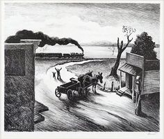 Thomas Hart Benton (American, Edge of Town. Lithograph dated to edition of Ref: Fath Signed. on Mar 2016 Art Thomas, Most Famous Artists, Portraits, Western Art, American Artists, Les Oeuvres, Art Museum, Illustrators, Folk Art