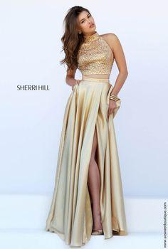 d4f941100b Sherri Hill Prom Dresses 2016 Style 11330 Gold Two Piece Prom Dress