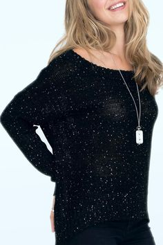 Gorgeous black and silver sparkle loose fitting sweater. The perfect effortlessly chic holiday look with skinny jeans and a great pair of heels.   Black Shimmer Sweater by 2 Chic Luxe. Clothing - Sweaters - Crew & Scoop Neck Alexandria, Virginia