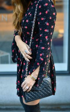 Fall Floral Dress  //  Rebecca Minkoff mini quilted affair bag