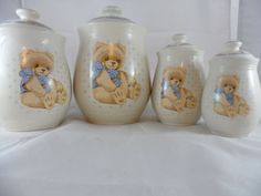 Tienshan-Stoneware-Set-Of-4-Theodore-Country-Teddy-Bear-Canisters-With-Lids
