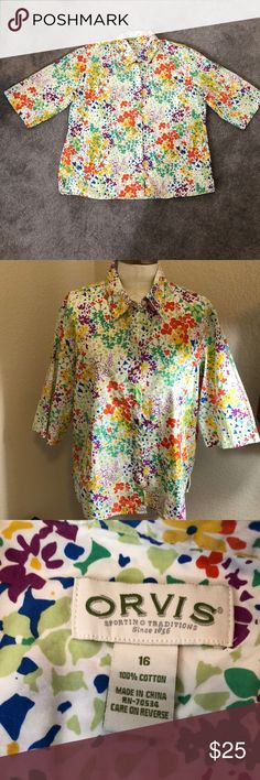 ✨ Orvis floral button up shirt✨ 🌸 Super cute and happy Orvis floral button up shirt. Worn a couple of times. In great shape. 100 percent cotton. Smoke free. Make me an offer.🌸 Orvis Tops Button Down Shirts