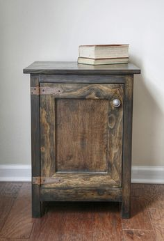 This easy DIY cabinet side table is the perfect project to add a rustic touch to any room. Full tutorial details included. #homedecor #DIYfurniture