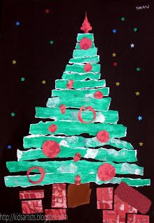 Kids Artists: Christmas tree in strips