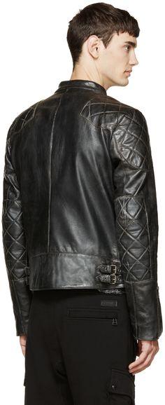 Belstaff: Black Vintage Leather David Beckham Edition Jacket | SSENSE