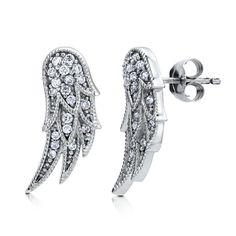 Sterling Silver Cubic Zirconia CZ Angel Wings Stud Earrings