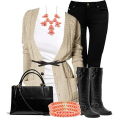 """Cream, Coral & Black"" by chells-style on Polyvore"