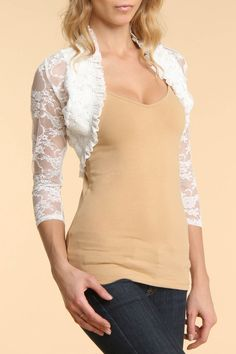 4 Now Fashions Lace Shrug In Ivory - Beyond the Rack