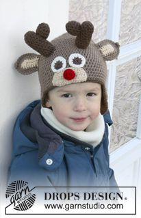 "Little Rudolph - DROPS Christmas: Crochet DROPS reindeer hat with antlers and ears in ""Lima"". - Free pattern by DROPS Design Crochet Kids Hats, Crochet Beanie, Free Crochet, Crochet Baby, Knit Crochet, Drops Design, Knitting Patterns Free, Crochet Patterns, Free Pattern"