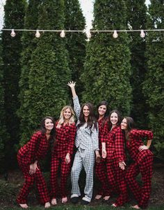Keep your guests nice and toasty with these fun ways to warm up your cold weather wedding, like these adorable flannel PJs for your bridal party!