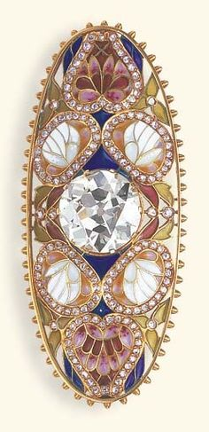 AN ART NOUVEAU DIAMOND AND PLIQUE-A-JOUR ENAMEL BROOCH. Centring upon an old European-cut diamond, within an oblong openwork and multi-coloured plique-à-jour enamel foliate surround, enhanced by rose-cut diamond borders, to the gold beadwork trim, mounted in gold, circa 1900 | JV