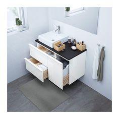 GODMORGON/TOLKEN / TÖRNVIKEN Wastafelcombinatie 45x45 - antraciet, hoogglans wit, 102x49x72 cm - IKEA