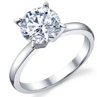 Wish | 2 Carat Round Brilliant Cubic Zirconia CZ Sterling Silver 925 Wedding Engagement Ring