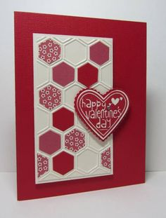 pretty handmade Valentine card ... honeycomb embossing folder ... random hexagons fill with patterned paper ... heart with sentiment ... Stampin' Up!