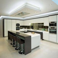30 Stunning Kitchen Ceiling Ideas 2020 (For Stylish Kitchen) - Dovenda - Modern Kitchen Luxury Kitchen Design, Kitchen Room Design, Luxury Kitchens, Home Decor Kitchen, Kitchen Living, Interior Design Kitchen, Kitchen Furniture, New Kitchen, Design Bathroom