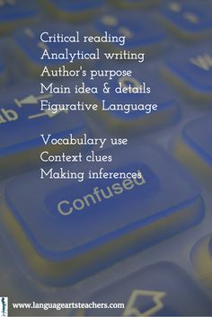Critical reading         Analytical writing         Author's purpose         Main idea & details         Figurative Language                          Vocabulary use         Context clues         Making inferences