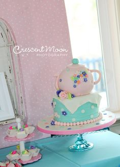 Look at this cake from a Tea Party birthday!    See more party ideas at CatchMyParty.com!