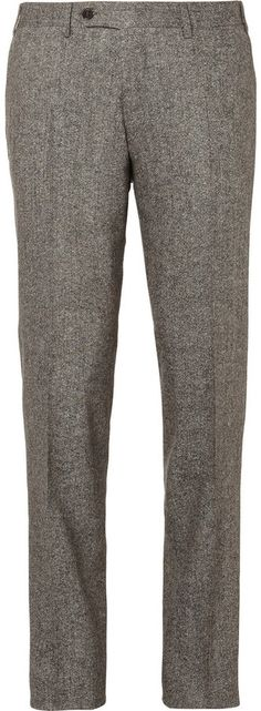 $350, Grey Wool Dress Pants: Canali Grey Tapered Wool Blend Suit Trousers. Sold by MR PORTER. Click for more info: https://lookastic.com/men/shop_items/1674/redirect